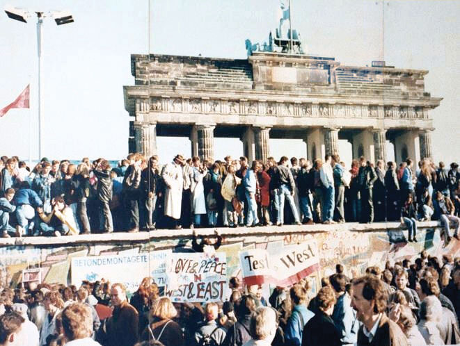 The crowd at the Berlin Wall in Germany the day it fell.